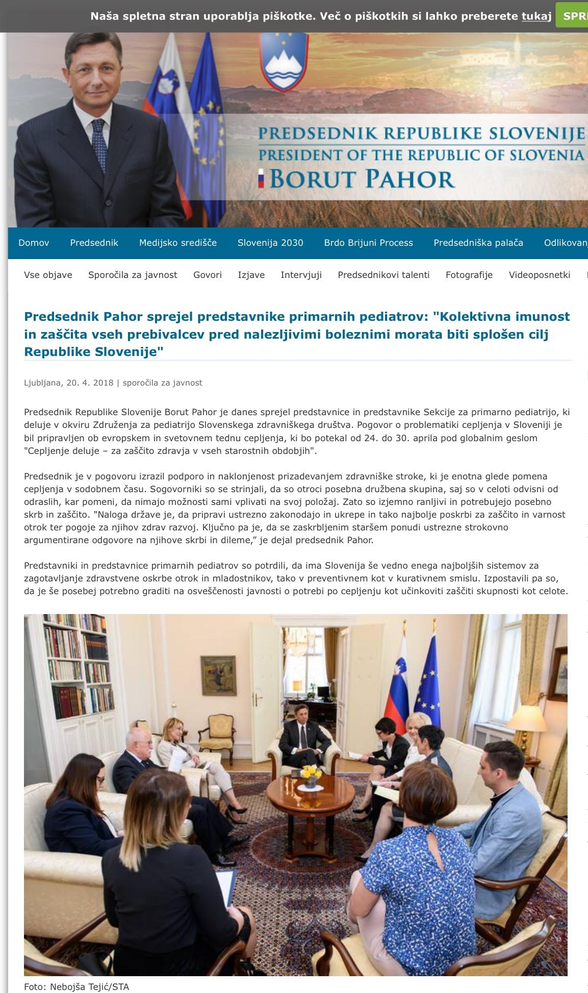 Predsednik Pahor sprejel predstavnike primarnih pediatrov